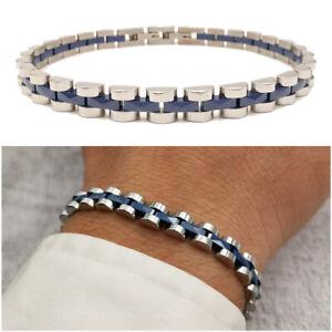 Bracciale da uomo in acciaio inox a maglia cinturino braccialetto blu