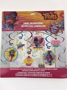Trolls Birthday Party Swirl Decorations 12 Piece Foil Value Pack