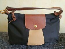 100% Longchamp Pilage Small Handbag Bag Black & Tan NylonLeather