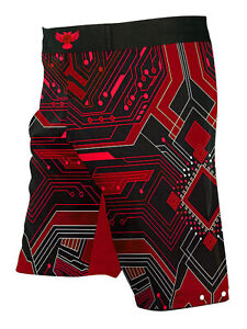 Raven Fightwear Men's Cybernetic BJJ MMA Shorts Red