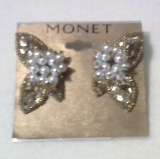 VINTAGE MONET BUTTERFLY HALVES GOLD SEQUINS BEADS PEARL HOLIDAY CLIP ON EARRINGS