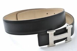 Authentic HERMES Ladies Leather Belt Reversible Size 65 Black Brown B0628