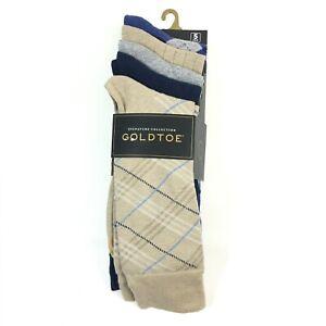 Goldtoe Signature Mens Madras Plaid Dress Socks 6-12.5 Large Multi 5 Pairs