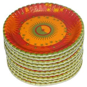 100 - 400 Stück Pappteller rund 23 cm Einweg Party Weihnachten gold-orange-rot