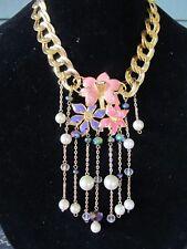 Vintage Monet Enamel Flower & Pearl Statement Necklace-Repurposed OOAK!