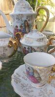 Antique Porcelain Tea Demitasse Set for 6. Hand Painted - Gold Trim 17 PCS. EXC.