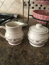Longaberber Sugar & Creamer Cranberry Red Tradition Pottery Never Used Display