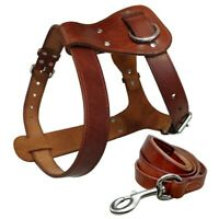 Genuine Leather Dog Harness & Leash Set Large Dog Training Harness for K9 Dogs