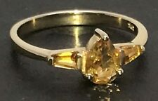 Solid 9ct gold citrine three stone ring, UK size O, new, pear & baguettes.