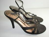 WOMENS BLACK SATIN STRAPPY SLINGBACK SANDALS EVENING HIGH HEELS SHOES SIZE 9.5 M
