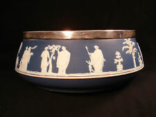 "Wedgwood Blue Jasperware Silver-Rimmed 10"" Bowl"