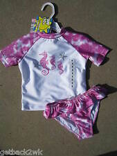 NEW* Flapdoodles GIRLS 5 2PC SWIMSUIT Swim Set Shirt $38 PINK White