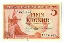 Iceland Republic Landsbanki Islands - Sedlabankinn 5 Kronur 1957 UNC