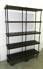 Libreria scaffale mobile vintage in stile industriale legno e ferro con ruote
