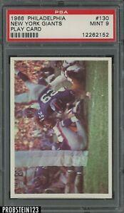 1966 Philadelphia Football #130 New York Giants Play Card PSA 9 MINT