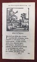 Rare Gravure Aigle 1682 Âne Jupiter Fables d'Esope Gabriele Faerno XVII