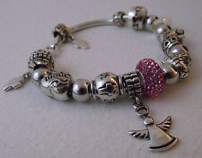 Italian Sterling Snake Silver Bead Bracelet with 11 Charms 7 Spacers 925 IBB