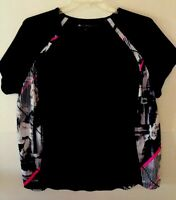 Ideology Womens Black Top With Gray & Hot Pink Accent Panels - 3X