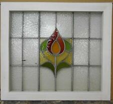 """MID SIZED OLD ENGLISH LEADED STAINED GLASS WINDOW Sweet Floral 25.25"""" x 22.25"""""""