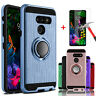 For LG G8 ThinQ G820 Case Cover With Ring Stand Holder + Glass Screen Protector