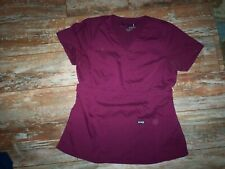 WOMENS SIZE MEDIUM GRAY'S ANATOMY  SIGNATURE BURGANDY SCRUB TOP