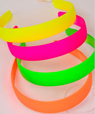 "BARGAIN Lot of 4 NEON HARD HEADBANDS plastic Solid Colors 1"" Green Pink"