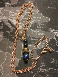 Blue Tiger Eye And Copper Bronze 1in Bead Charm 20in 3in Ext Chain Necklace