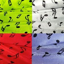 Musical Notes Stretch Nylon Music Dressmaking Fabric, purple, yellow, red, white