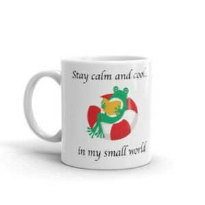 """""""Stay calm and cool"""" frog 11oz ceramic white coffee mug gift/novelty"""