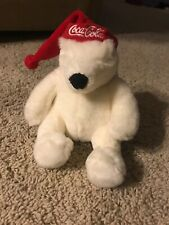 Coca-Cola Plush Sitting Polar Bear with Santa Hat 8""
