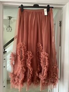 ANTHROPOLOGIE Felicity Ruffled Rose Pink Tulle Midi Skirt Size S Boho Wedding