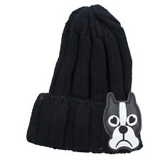 Novelty Patch Beanie Hat Lux Accessories Black Sad Puppy