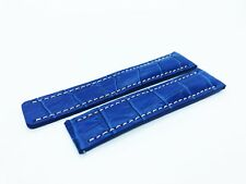 Blue Croco Genuine Leather Strap Band fit BREITLING Watch Buckle Clasp 22 24mm