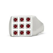 0.39 Ct Engagement Men's Rings Natural Ruby 14K Solid White Gold Band Size V X W
