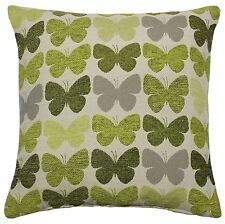 """2 X GREEN CREAM BUTTERFLY LUXURIOUS THICK CHENILLE CUSHION COVERS 17"""" - 43CM"""