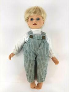 """1997 MY TWINN CUDDLY BROTHER Boy Doll Michael Doll 14"""" Blond Hair Blue Eyes"""