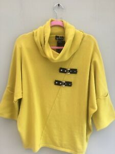JUMPER TUNIC SIZE 10 BY MARBLE BUCKLE DETAIL TO FRONT COWL NECK CHARTREUSE BNWT