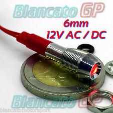 SPIA LED ROSSO 12V DC METALLO CONICA 6mm IP67 auto moto camper nautica indicator