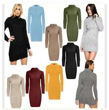 Ladies Polo Roll Neck Chunky Knit Cable Long Sleeve Jumper Womens Sweater Top UK