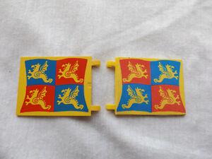 DOUBLE SIDED PRINTED CUSTOM FLAG FOR 6086 CASTLE SET .ON GENUINE LEGO FLAG BRICK