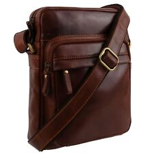 Visconti Leather Mens Tan Cross Body Reporter Shoulder Bag Travel