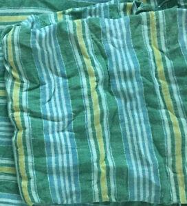 Vtg Lake & Beach House Twin Sz Bedspread Lightweight Green w Yellow Blue Stripes