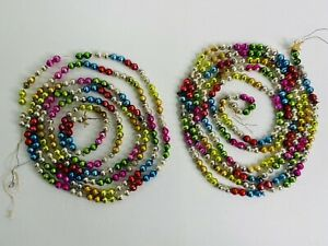 """2 Strands Vintage Mercury Glass Bead Garland - 96"""" and 104"""" Lot A"""