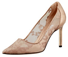Manolo Blahnik Lace & Leather BB 105 Lace Pump Pointy Toe Shoe 38.5-8