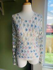 New listing Vintage Valenti Hippie Festival Crochet Pearl Pastel Blouse Top Women's M