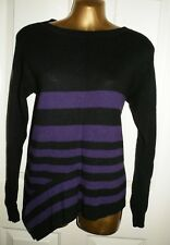 BLACK PURPLE STRIPED JUMPER SIZE 1 KAREN MILLEN FASHION CASUAL DESIGNER