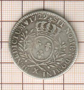 Louis XV Halber ECU Silber 1729 X Amiens