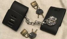 Black Faux Leather Wrist 21cm - 27cm Restraints Handcuffs lock & keys Bondage