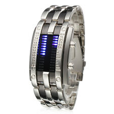 Neu COOL LED Armbanduhr Herren Riefe Unisex Blau Digitaluhr Watch Binär Uhr IN