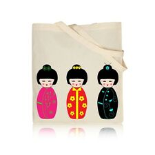 Cute Kokeshi Dolls - 100% Natural Cotton Shoulder Tote Shopping /Book/Gym Bag